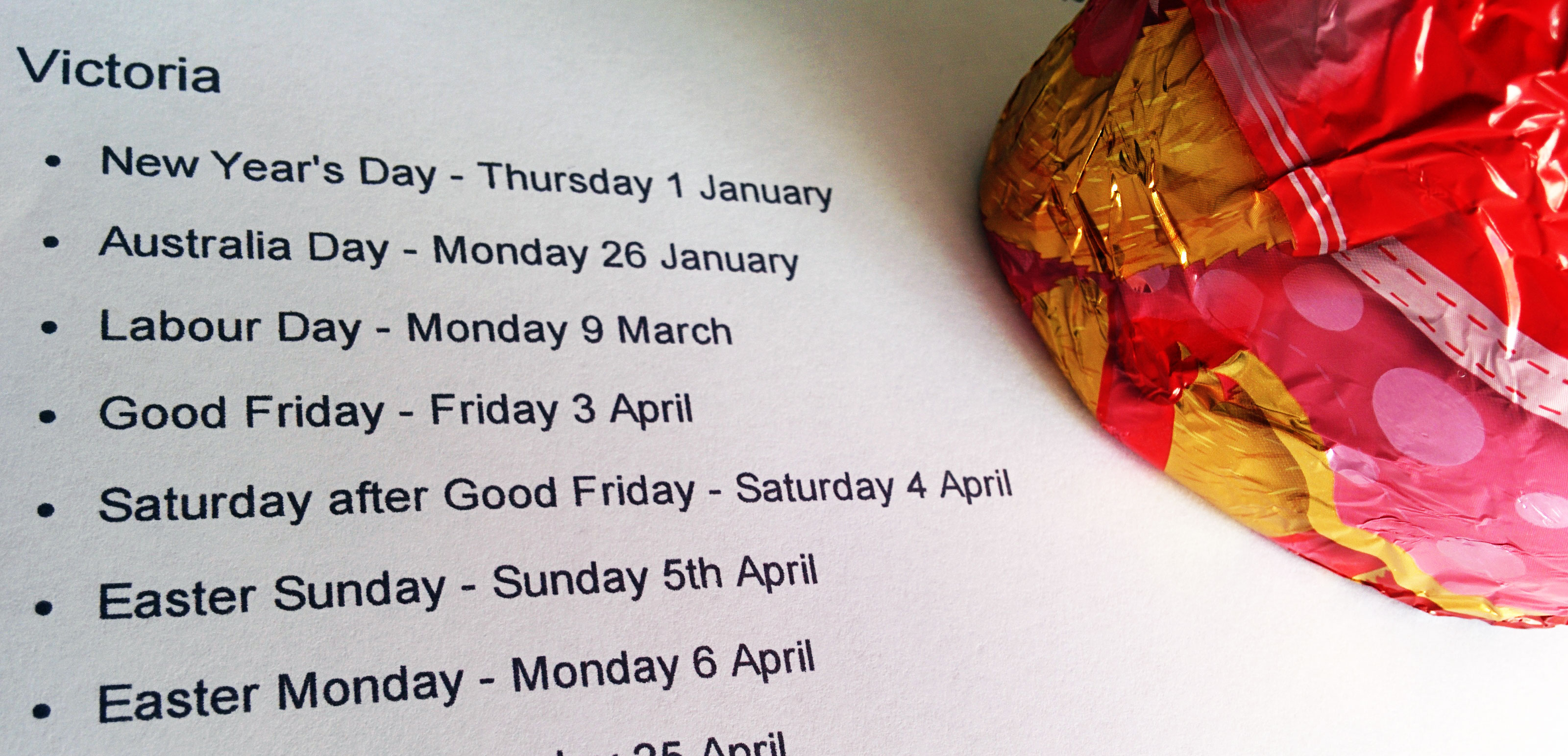 Easter 2015 public holidays